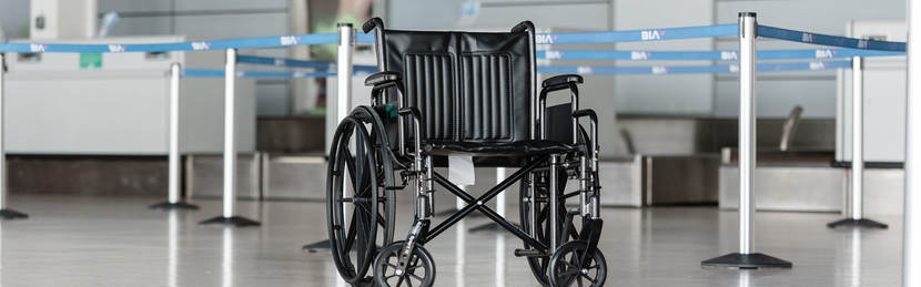 Empty wheelchair on airport